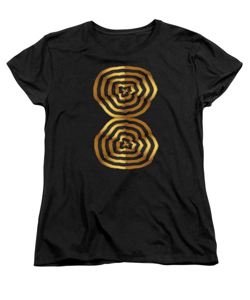 Golden Waves Hightide Natures Abstract Colorful Signature Navinjoshi Fineartartamerica Pixels Women's T-Shirt (Standard Cut) by Navin Joshi