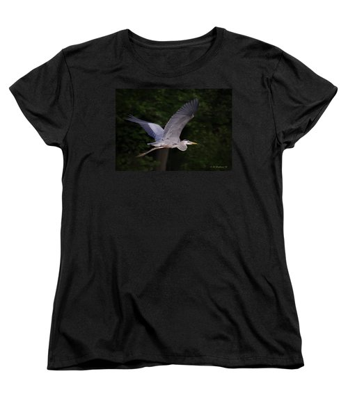 Great Blue Heron In Flight Women's T-Shirt (Standard Cut) by Brian Wallace