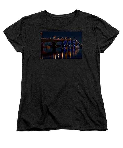 Hathaway Bridge At Night Women's T-Shirt (Standard Cut) by Anthony Dezenzio