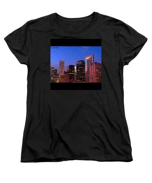 #houston #skyline At Dusk. #night Women's T-Shirt (Standard Cut) by Austin Tuxedo Cat