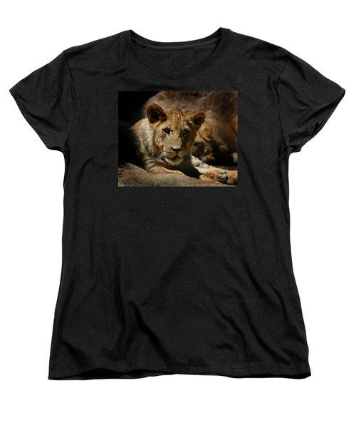 Lion Cub Women's T-Shirt (Standard Cut) by Anthony Jones