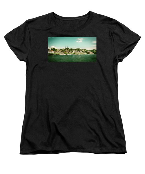 Women's T-Shirt (Standard Cut) featuring the photograph Lucerne Panorama by Wolfgang Vogt
