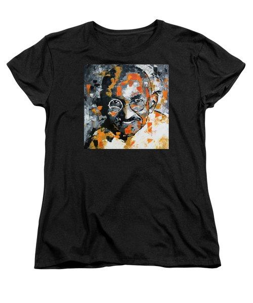 Women's T-Shirt (Standard Cut) featuring the painting Mahatma Gandhi by Richard Day