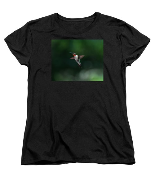 Male Ruby Throated Hummingbird Women's T-Shirt (Standard Cut) by Brenda Jacobs