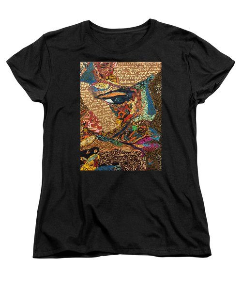 Women's T-Shirt (Standard Cut) featuring the tapestry - textile Nina Simone Fragmented- Mississippi Goddamn by Apanaki Temitayo M
