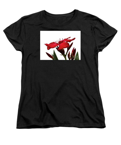 Women's T-Shirt (Standard Cut) featuring the photograph Oleander Blood-red Velvet 3 by Wilhelm Hufnagl
