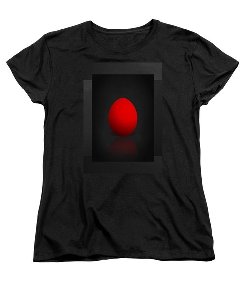 Red Egg On Black Canvas  Women's T-Shirt (Standard Cut) by Serge Averbukh
