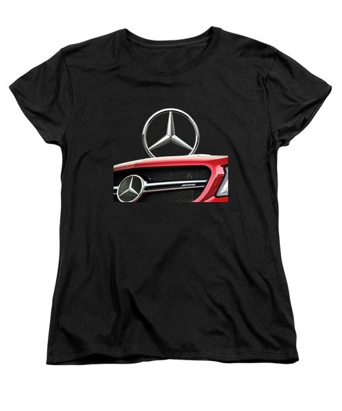 Red Mercedes - Front Grill Ornament And 3 D Badge On Black Women's T-Shirt (Standard Cut)