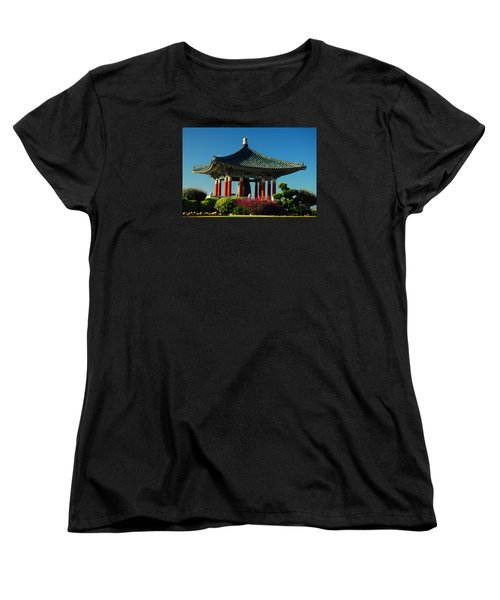 Women's T-Shirt (Standard Cut) featuring the photograph San Pedro Korean Peace Bell by James Kirkikis