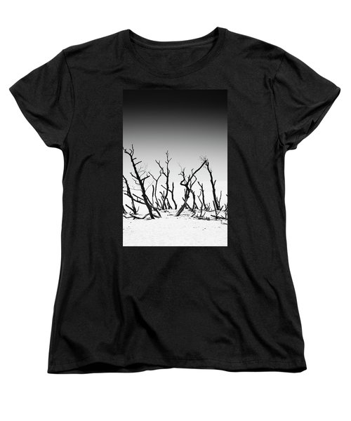 Women's T-Shirt (Standard Cut) featuring the photograph Sand Dune With Dead Trees by Chevy Fleet