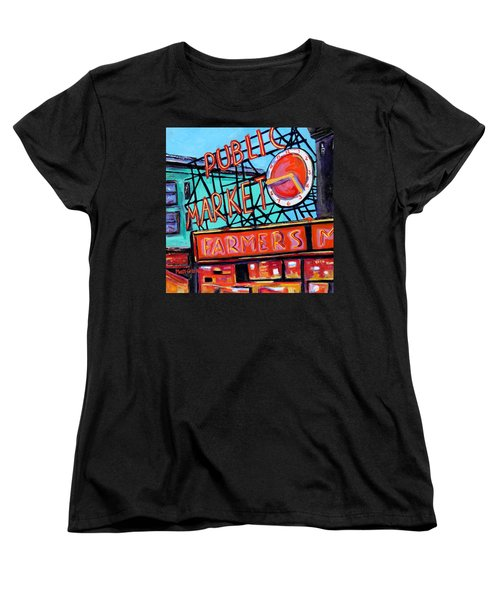 Seattle Public Market Women's T-Shirt (Standard Cut) by Marti Green