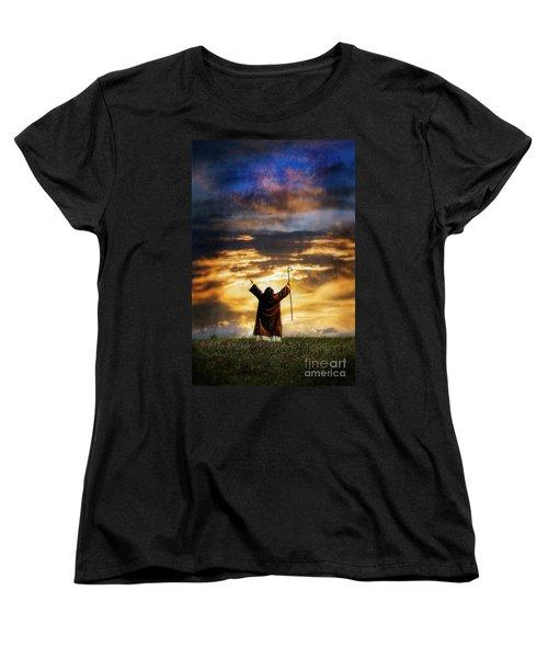Shepherd Arms Up In Praise Women's T-Shirt (Standard Cut) by Jill Battaglia