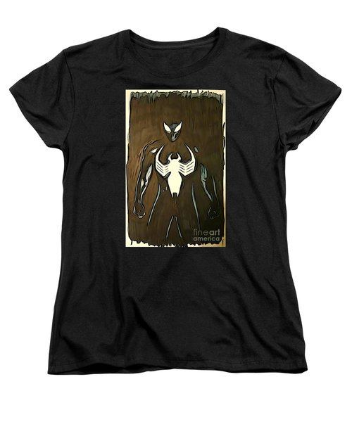 Spider-man Back In Black Women's T-Shirt (Standard Cut) by Justin Moore