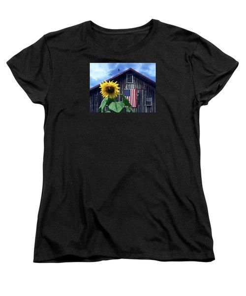 Sunflower By Barn Women's T-Shirt (Standard Cut) by Sally Weigand