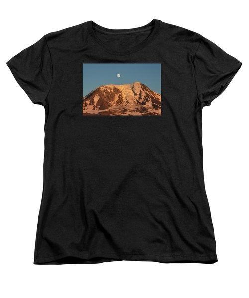 Women's T-Shirt (Standard Cut) featuring the photograph Sunset And Moonrise At Mt Adams by Jack Moskovita