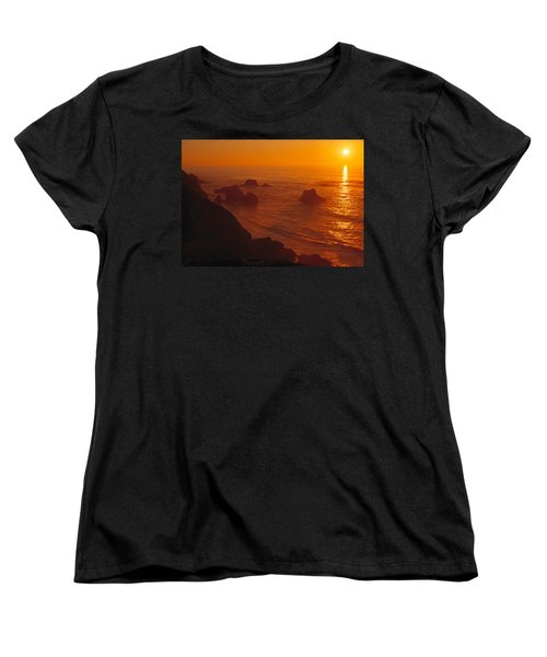 Sunset Over The Pacific Ocean Women's T-Shirt (Standard Cut) by Utah Images