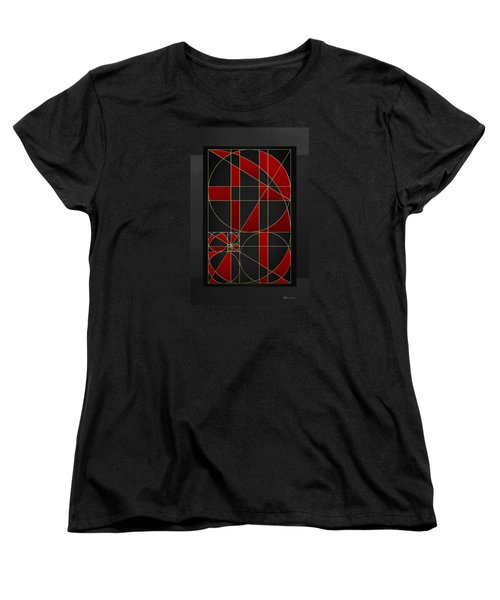 The Alchemy - Divine Proportions - Red On Black Women's T-Shirt (Standard Cut) by Serge Averbukh