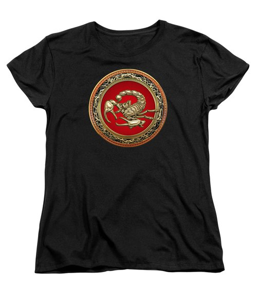 Treasure Trove - Sacred Golden Scorpion On Black Women's T-Shirt (Standard Cut) by Serge Averbukh