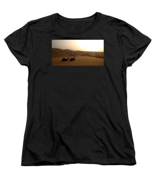 Two Camels At Sunset In The Desert Women's T-Shirt (Standard Cut) by Ralph A  Ledergerber-Photography