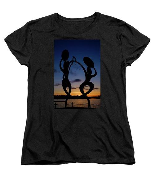 United In Celebration Sculpture At Sunset 5 Women's T-Shirt (Standard Cut) by John McArthur