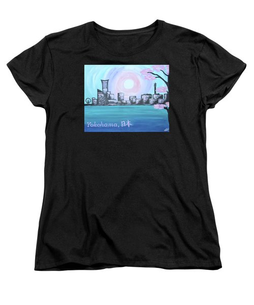Yokohama Skyline Women's T-Shirt (Standard Cut) by Cyrionna The Cyerial Artist