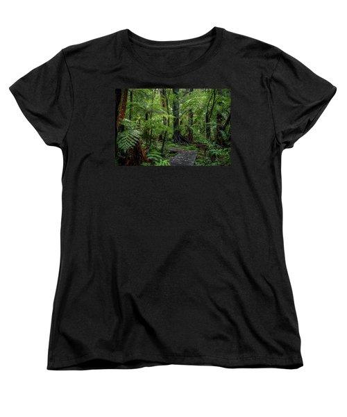 Women's T-Shirt (Standard Cut) featuring the photograph Forest Boardwalk by Les Cunliffe