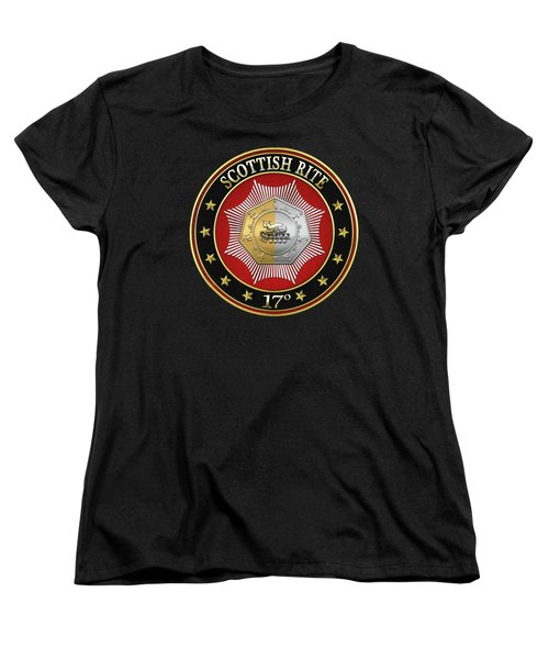 17th Degree - Knight Of The East And West Jewel On Black Leather Women's T-Shirt (Standard Cut)