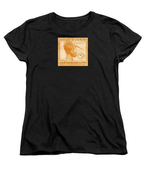 Women's T-Shirt (Standard Cut) featuring the painting 1923 Belgian Congo Ubangi Woman by Historic Image