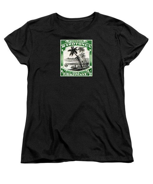 Women's T-Shirt (Standard Cut) featuring the painting 1932 Landing Of Captain Cook Stamp by Historic Image