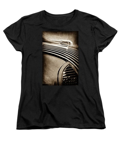 Women's T-Shirt (Standard Cut) featuring the photograph 1936 Pontiac Hood Ornament -1140s by Jill Reger