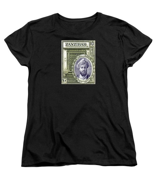 Women's T-Shirt (Standard Cut) featuring the painting 1936 Sultan Of Zanzibar Stamp by Historic Image