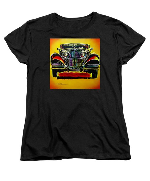 Women's T-Shirt (Standard Cut) featuring the painting 1937 Mercedes Benz First Wheel Down by Eric Dee