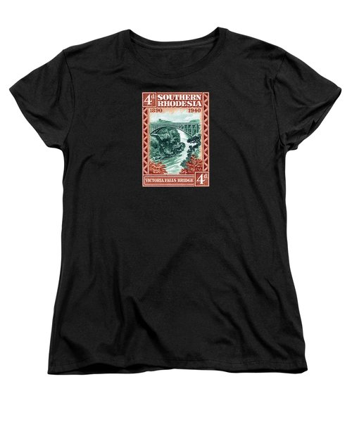 Women's T-Shirt (Standard Cut) featuring the painting 1940 Southern Rhodesia Victoria Falls Bridge  by Historic Image