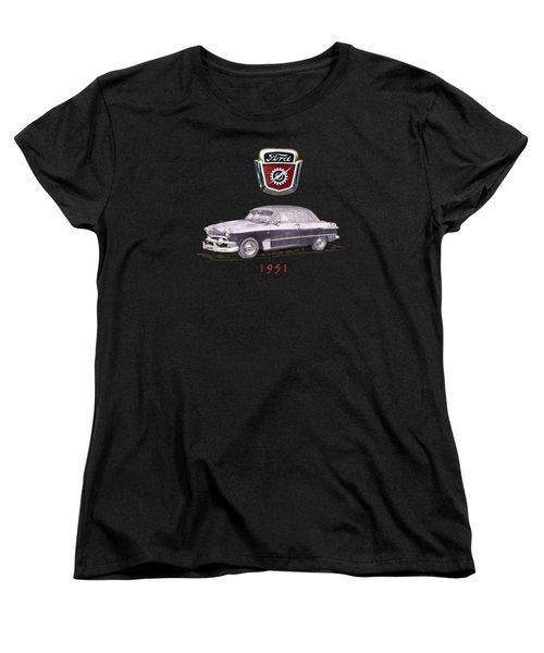 1951 Ford Two Door Sedan Tee Shirt Art Women's T-Shirt (Standard Cut) by Jack Pumphrey