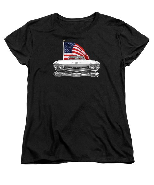 Women's T-Shirt (Standard Cut) featuring the photograph 1959 Cadillac With Us Flag by Gill Billington