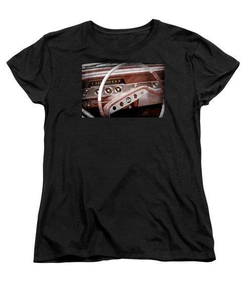 Women's T-Shirt (Standard Cut) featuring the photograph 1961 Chevrolet Impala Ss Steering Wheel Emblem -1156ac by Jill Reger