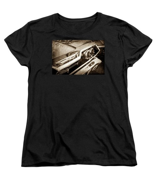 Women's T-Shirt (Standard Cut) featuring the photograph 1963 Chevrolet Taillight Emblem -0183s by Jill Reger