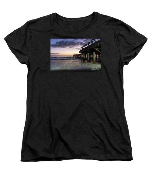 1st Dawn Cocoa Pier Women's T-Shirt (Standard Cut) by Jennifer White