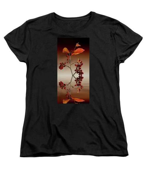 Women's T-Shirt (Standard Cut) featuring the photograph Autumn Leafs And Red Berries by David French