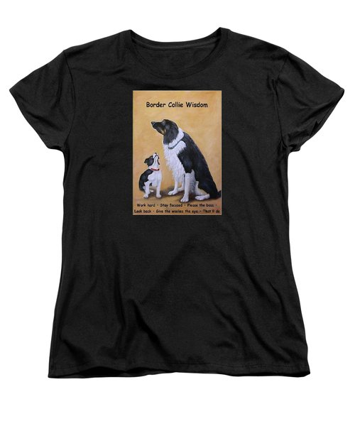 Women's T-Shirt (Standard Cut) featuring the painting Border Collie Wisdom by Fran Brooks