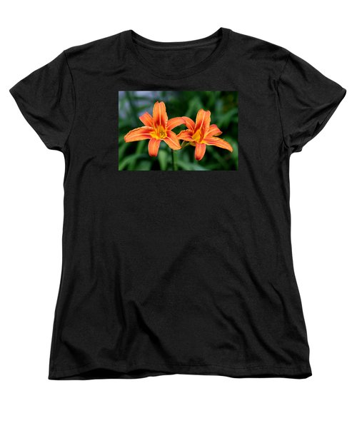 Women's T-Shirt (Standard Cut) featuring the photograph 2 Flowers In Side By Side by Paul SEQUENCE Ferguson             sequence dot net