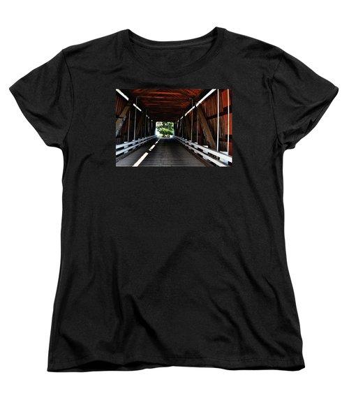 Gallon House Covered Bridge Women's T-Shirt (Standard Cut) by Ansel Price