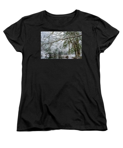 Women's T-Shirt (Standard Cut) featuring the photograph March Snow Along Cranberry River by Thomas R Fletcher