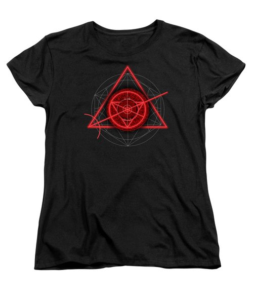 Occult Magick Symbol On Red By Pierre Blanchard Women's T-Shirt (Standard Cut) by Pierre Blanchard