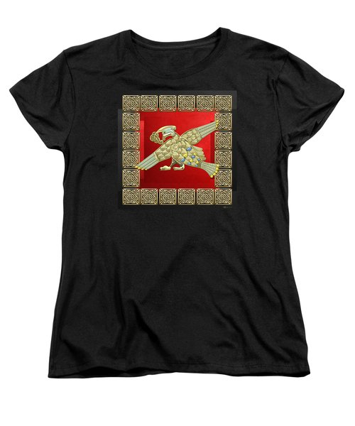 Sacred Celtic Bird On Red And Black Women's T-Shirt (Standard Cut) by Serge Averbukh