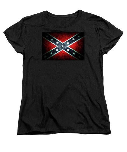 Women's T-Shirt (Standard Cut) featuring the photograph Confederate Flag by Les Cunliffe