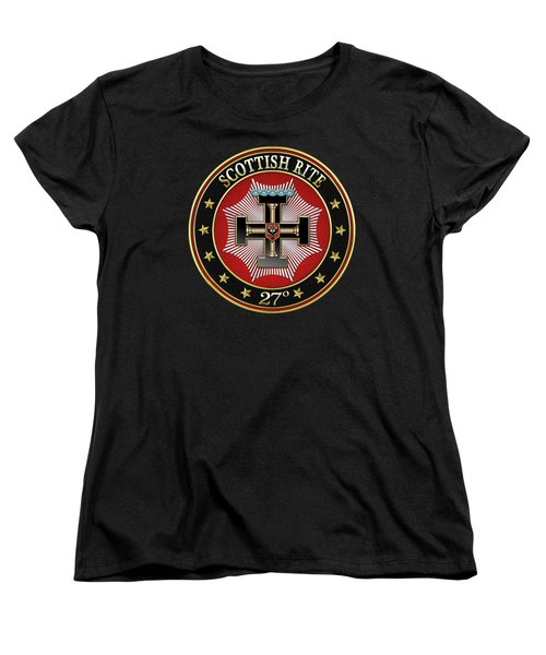 27th Degree - Knight Of The Sun Or Prince Adept Jewel On Black Leather Women's T-Shirt (Standard Fit)