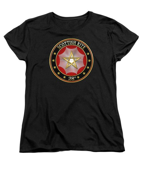 28th Degree - Knight Commander Of The Temple Jewel On Black Leather Women's T-Shirt (Standard Cut)