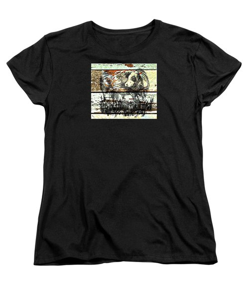 Women's T-Shirt (Standard Cut) featuring the drawing Simmental Bull by Larry Campbell