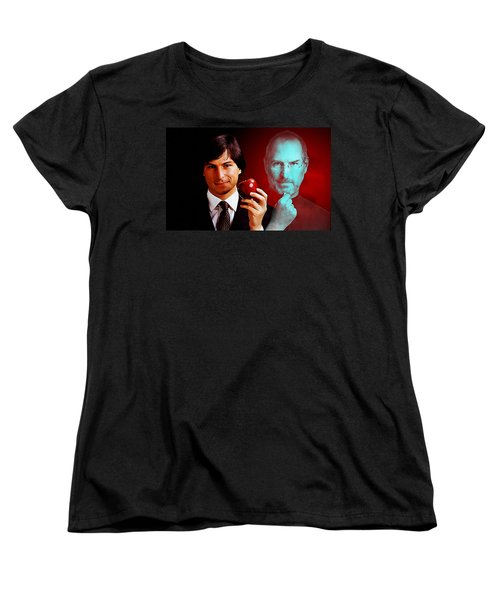 Women's T-Shirt (Standard Cut) featuring the mixed media Steve Jobs by Marvin Blaine